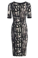 Topshop Abstract Print Midi Bodycon Dress Stretch Evening Jersey Party