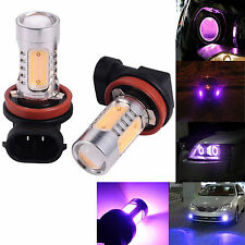 2X High Power Purple H11 H8 COB Projector LED Bulbs For Car Fog DRL Lights Lamps
