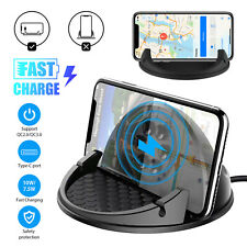 Wireless Car Charger 10W Qi Fast Charging Mount Phone Holder For iPhone Samsung