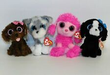 """Lot of 4 Ty Puppy Dog 6"""" Beanie Boos w/Tags: Patsy, Tracey, Whiskers & Maddie"""