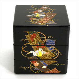 """Japanese Lacquer Stack Bento Box Lunch Container 3-Tier 3.5"""" Crane Made in Japan"""