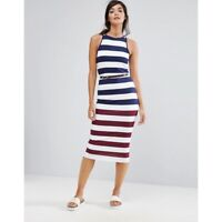 Ted Baker Yuni Rowing Stripe Belted Bodycon Dress Blue Red White 2 US6 $195 NWT