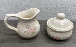 Pfaltzgraff Tea Rose Creamer and Covered Sugar Bowl Farmhouse Decor Brilliant