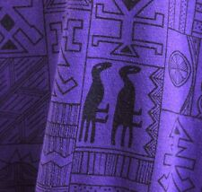 Vtg 80s Shirt Tunic Top S Tribal Hieroglyphics Egyptian Purple Drawstring Waist