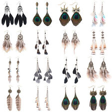 Bohemian Boho Multi Design Feathers Tel Fashion Women Dangle Hook Earrings