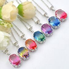 Unique Oval Mix BI-COLORED Tourmaline Silver Chain Pendants Necklaces 7PCS 1Lot