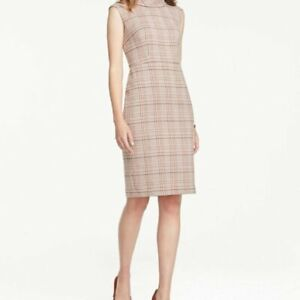 Ann Taylor Plaid Multi Color Roll Collared Sheath Dress Size 4P Career Office