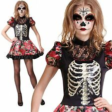 ADULT LADIES DAY OF THE DEAD DOLL SENORITA MEXICAN FANCY DRESS COSTUME
