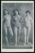 French full nude woman The Three Graces slave lesbian early 1900s photo postcard