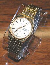 Belair Quartz English & Spanish Time Adjust Gold Water Resistant Wrist Watch!