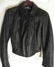 Easy Riders Brand Black Leather Motorcycle Jacket -- Womens Sz 36 -- Exc Cond!