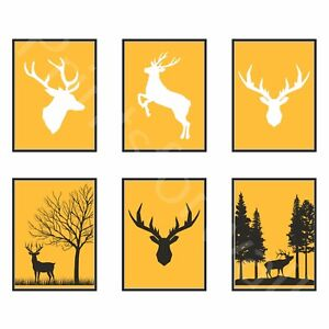 Stag Deer Print Picture Forest Animal Print Antlers Mustard Home Wall Decor Art