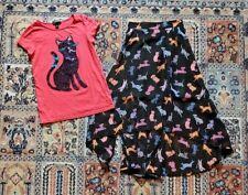 GAP Kids sequin cat T-shirt & D-Signed chiffon cat print hi-lo skirt size L