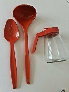 Retro Orange Federal Syrup Jar Retractable  Ladle Spoon Vintage 1970's