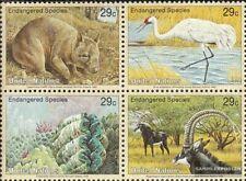 UNO - New York 644-647 Viererblock (kompl.Ausg.) postfrisch 1993 Gefährdete Tier