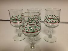 LIBBEY GLASSWARE ARBY'S HOLLY BERRY WINE GLASSES WITH BOW STERN - 4 TOTAL