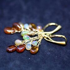 Spessartine Garnet Opal Earrings 14k Gold Vermeil , European Hinges January