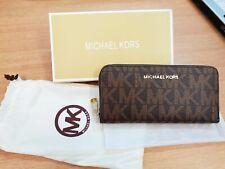 BROWN MK WRITING MICHAEL KORS STOCK LEATHER WALLET PURSE MOBILE HOLDER FREE P&P