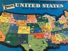 "1961 Milton Bradley United States World Map Puzzle 4806 20"" X 14"""