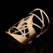 Cuff Bracelet Women Ladies Wristband Vintage Gold Plated Hollow Geometry Bangle
