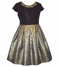 BONNIE JEAN® Girl's 12 Jacquard Print Embellished Neck Holiday Dress NWT $78