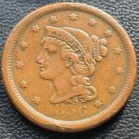 1856 Large Cent Braided Hair One Cent 1c Better Grade #25994
