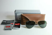 52a157316c1 Ray-Ban Mens Polarized Arista Gold Aviator Large Metal Sunglasses RB3025-58  New