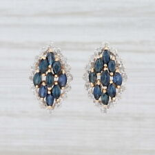 1.45ctw Blue Sapphire White Diamond Halo Earrings 14k Yellow Gold Gemstone Studs