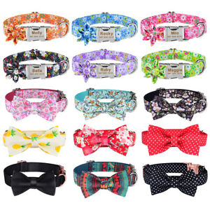 Personalised Boy Girl Dog Collar Flower Bow Engraved Name Tag Small Medium Large
