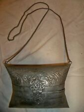"Vintage Metal Brass & Copper Pillow Shaped Purse 40"" chain Blue lined"