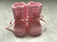 New Hand knitted Pink Shimmer  Baby Girls  Booties Fits 0 - 3 months