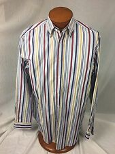 * Paul & Shark * Yachting Striped Button Down Shirt Large