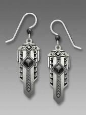 Adajio Earrings Hinged Metal Art Deco 'Sword' Black Cabochon Handmade in USA