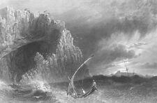 Turkey, Mersin ROCKY ANAMUR SEA COAST SAILBOAT WAVES ~ 1836 Art Print Engraving