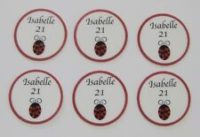 12 PRE CUT EDIBLE RICE PAPER CARD LADYBUG LADYBIRD PERSONALISED CUPCAKE TOPPERS