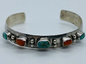 Vintage J. CADMAN Navajo Sterling Cuff w/ Turquoise & Red Coral Cabochons