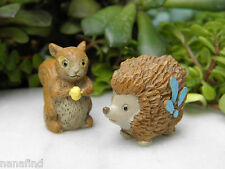Miniature Dollhouse FAIRY GARDEN ~ Pixie ENCHANTED FOREST Hedgehog & Squirrel