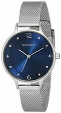 Skagen Women's Anita Blue Dial Silver-Tone Stainless Steel Mesh Watch SKW2307