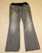 7 For All Mankind Maternity Gray Wash Low Panel Distressed Flared Jeans Sz 32