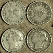 St.Settlements : Lot 2 Coins 10 Ct 1895 + 1897 KM# 11  VF-XF  IR607