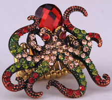 Octopus stretch ring cute animal bling scarf jewelry gifts for women girls 1 red