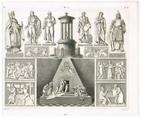 ANTIQUE PRINT VINTAGE 1851 ENGRAVING ART SCULPTURE 19TH CEN MEMORIAL CEREMONIAL
