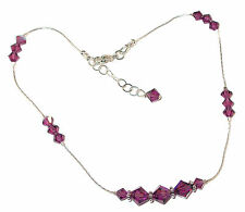 AMETHYST Purple CRYSTAL ANKLET Bali Sterling Silver Swarovski Elements