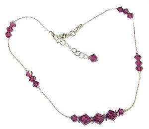AMETHYST Purple CRYSTAL ANKLET Bali Sterling Silver Swarovski Elements
