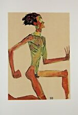 Egon SCHIELE - Estampe - Lithographie - Kneeling Male Nude in Profile