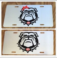 Georgia Bulldogs License Plate Silver Metal Bulldog Face UGA Tag