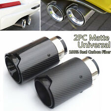 2Pcs Matte Car Carbon Fiber Exhaust End Tips For BMW 2.5'' in,3.5''out With Logo