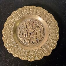 Antique Damascus Copper and Silver Inlay Plate 4 - 3/4 Round