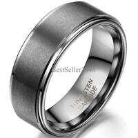 8mm Wedding Band Matte Center Comfort Fit Men Women Tungsten Carbide Ring