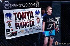 Tonya Evinger Signed Invicta FC 8 Fight Worn Used Banner PSA/DNA COA Autograph